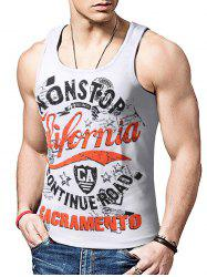 Round Neck Graphic Distressed Print Tank Top