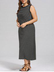 Plus Size Stripe Side Slit Maxi  Tank Dress