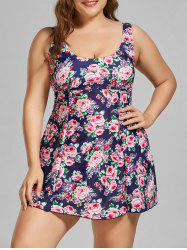 Padded Floral Plus Size Skirted Bathing Suit