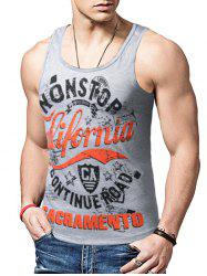 Round Neck Graphic Distressed Print Tank Top - GRAY M
