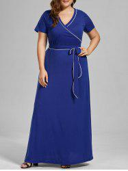 Plus Size V Neck Floor Length Dress