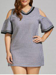 Checked  V  Neck Plus Size Cold Shoulder Dress