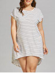 Plus Size Stripe High Low  T-shirt Dress