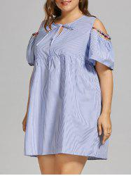 Plus Size  Open Shoulder Vertical Stripe Smock Dress