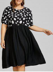 Polka Dot Plus Size Mid Trapeze Dress with Pockets