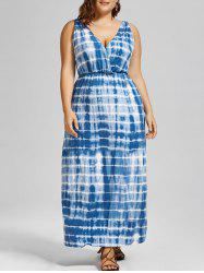 Tie Dye Plunge V Neck Plus Size Maxi Bohemian Dress