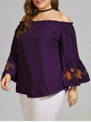 Plus Size Flare Sleeve Embroidered Off the Shoulder Blouse