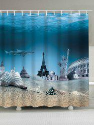 Shark Statue of Liberty Eiffel Tower Shower Curtain