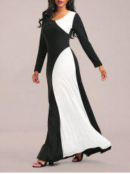 Long Sleeve Two Tone Maxi Jersey Dress - WHITE AND BLACK