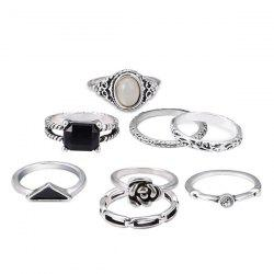 Rhinestone Flower Oval Finger Ring Set - SILVER