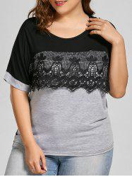 Lace Trim Color Block Plus Size Top - GRAY 4XL