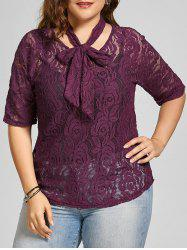 See Through Plus Size Lace Top with Belt