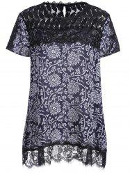 Printed Chiffon Plus Size Lace Trim Top