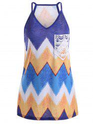 Chevron Print Front Lace Pocket Tank Top
