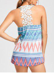 Aztec Print Lace Back Flowy Tank Top