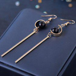 Bead Embellished Long Metal Stick Drop Earrings