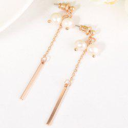 Long Metal Stick Double Artificial Pearl Earrings -