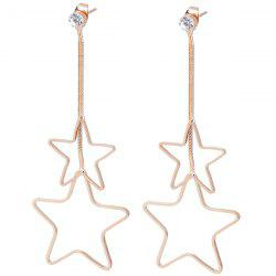Metal Double Hollow Out Stars Drop Earrings