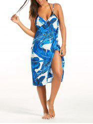 Banana Leaf Print Cover Up Sarong Dress - BLUE
