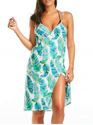 Colorful Palm Leaf Print Cover Up Sarong Dress