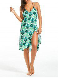 Tropical Leaf Print Cover Up Sarong Dress