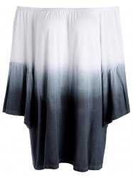 Ombre Plus Size Off The Shoulder Top with Flare Sleeve