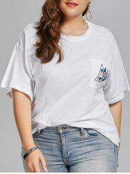 Plus Size Geometric Embroidered Simple Pocket T-shirt