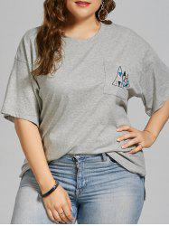Plus Size Geometric Embroidered Simple Pocket T-shirt -