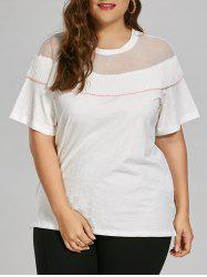 Semi Sheer Mesh Insert Plus Size Ruffle Top