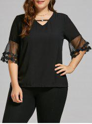 Cutout Chiffon Flare Sleeve Plus Size Top