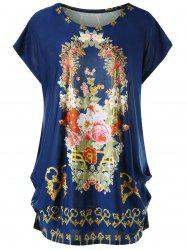 Plus Size Cap Sleeve Floral Baggy Top