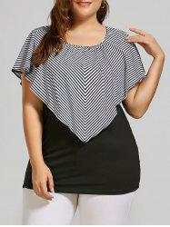 Cap Sleeve Plus Size Striped Overlay T-shirt