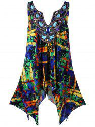 Plus Size Embroidery Decorated Handkerchief Tank Top - COLORMIX 3XL