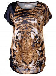 Tiger Print Plus Size Baggy Top - TIGER PRINT