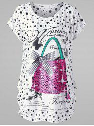 Plus Size Polka Dot Baggy T-shirt - WHITE ONE SIZE