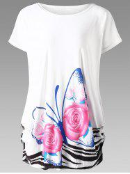 Butterfly Print Plus Size Baggy Top - WHITE