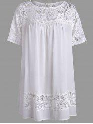 Lace Crochet Panel Plus Size Chiffon Tunic Top