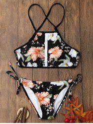 Floral Print Backless Cropped Top Bikini Set - COLORMIX