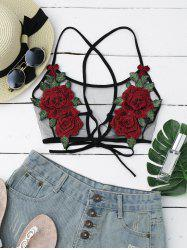 Sheer Mesh Flower Applique Crop Top - BLACK