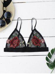 Mesh Flower Applique Bra Top