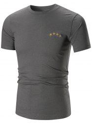 Feather Print Star Embroidered T-shirt
