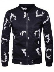 Elk Head Printed Zip Up Bomber Jacket