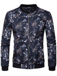 Zip Up Floral Printed Bomber Jacket