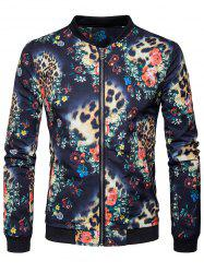 Zip Pocket Floral Printed Bomber Jacket -