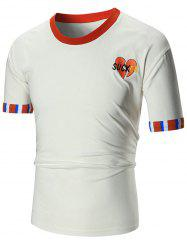 Cuffed Sleeve Embroidery T-shirt