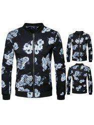 Zip Up Flower Print Jacket