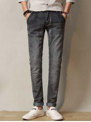Stretchy Zipper Fly Straight Leg Distressed Jeans