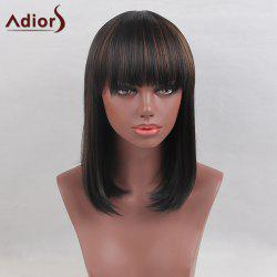 Adiors Medium Colormix Full Bang Straight Bob Synthetic Wig - BLACK AND BROWN
