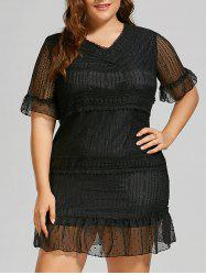 Plus Size Flounce Bell Sleeve Mini Lace Dress