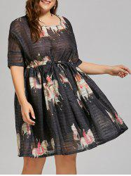 Drawstring Organza Plus Size Floral Trapeze Dress